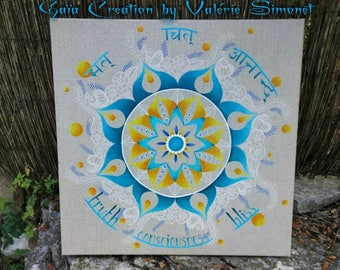 Mandala *** Reserved *** turquoise, yellow and beig