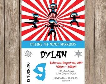 Ninja Birthday Party  Invitation- Digital
