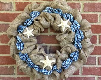 Beach Burlap Wreath with Starfish | 18 inch Burlap Wreath | Starfish Blue Ribbon