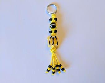 Yellow Frog Keychain, Yellow Hemp Keychain, Glass Frog Keychain, Frog Keychain, Hemp Keychain, Yellow Frog, Black Frog Keychain, Yellow Hemp