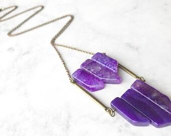 Purple Agate Pendant Necklace // Long Necklace// Ladder Necklace // Natural Stone Necklace // Boho Necklace // Unique Purple Stone Necklace