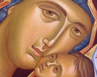 Mother of God Byzantine orthodox icon egg tempera Богородица с Младенцем Византийская икона яичная темпера