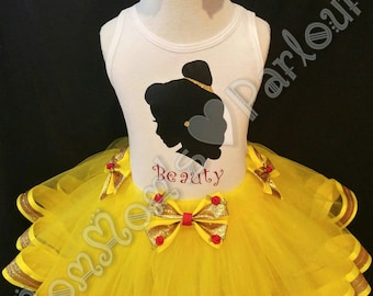 Belle tutu, beauty and the beast tutu, princess belle, princess bell birthday outfit, princess belle tutu, beauty and the beast birthday