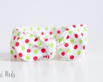 Christmas Dot Top Knot Headband / Baby Headband / Knot Baby Headwrap / Christmas Headband /Tie knot Turban Headband / Stocking Filler Gift
