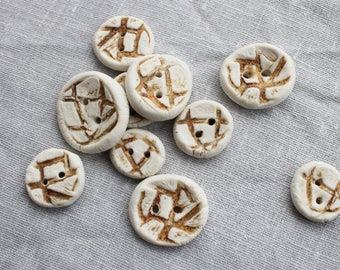 Brown & White Porcelain Buttons