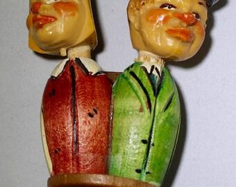 Wooden Wine Stopper - Vintage Hand Carved Bottle Stopper - Wood Kissing Couple Mechanical Bottle Stop - Antique German Wine Cork Stopper