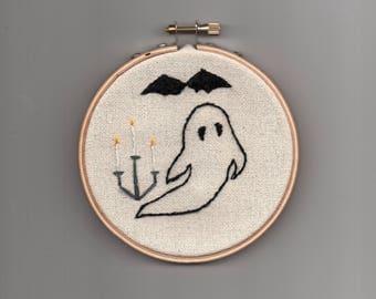 Tiny Halloween ghost, haunted candelabra, black bat, morbid embroidery crewel hoop, needlepoint, gothic witchcraft occult horror art