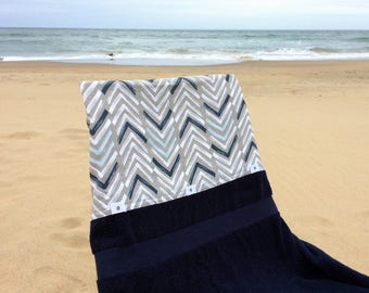Go-Towel, Navy and White Arrows/Navy Blue Towel