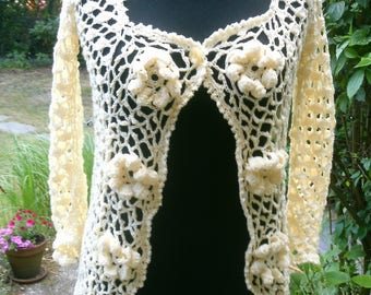 Crochet jacket with 3-D flowers, bright yellow, size 38-40 (M)
