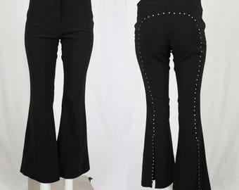 black flared pants / 90s black bell bottoms / lowrise pants / S