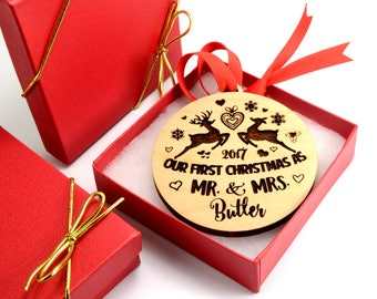 Personalized wooden ornament, personalized gift, wooden ornament, Christmas ornament, Gift for couple, Christmas gift ornament, engraved