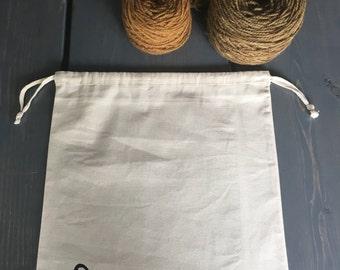 Hand Printed Cotton Drawstring Project Bag- Quail