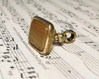 Antique banded agate seal fob, uncarved, Victorian gold plated intaglio seal