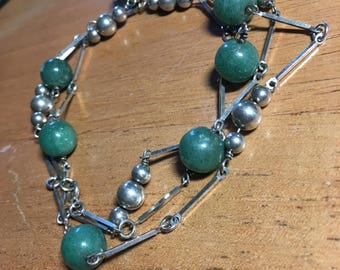 Sterling silver Long line necklace with green Jade stones