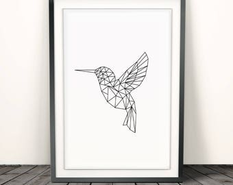 geometric printgeometric wall artgeometric hummingbird printable art hummingbird print