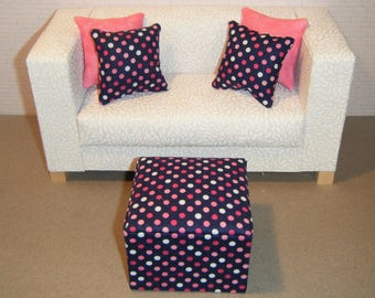 1:6 Scale Furniture Pouf and 4 Pillows - Barbie Momoko Blythe Pullip Fashion Dolls - Living Room Diorama - Blue Pink Dots