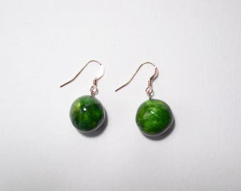 Rose Gold Drop Earrings, Greenery Jewelry, Ceramic Dangle Earrings, Dark Green Ball Earrings, Fall Jewelry, Clay Orb Jewelry, Gold Earrings
