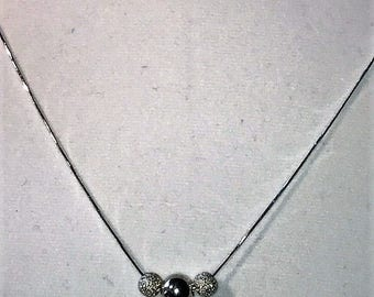 Three Ball Sterling Silver Necklace