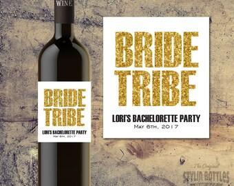 BRIDE TRIBE WINE Bottle Label-Bachelorette Party Wine Label, Gold Bling Wine Label, Gold Glitter Bachelorette Party-Party Wine Labels