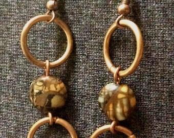 """Earrings #386 made of bronze rings and """"Jasper"""""""
