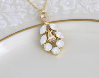 Bridal necklace, Bridesmaid necklace, Bridal jewelry, Swarovski crystal necklace, Gold necklace, Champagne necklace, Pendant necklace