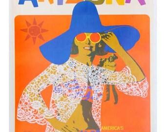 Arizona Travel Poster - Vintage Travel Print Art - Home Decor - Hotel Art Restaurant Art