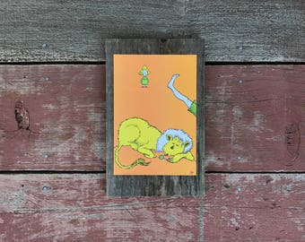 Dr. Seuss, ABC | 1963 | Peace by Piece Reclaimed Wood Children's Book Illustration Wall Art | Hanging Dr. Seuss Wall Art | Made to Order |