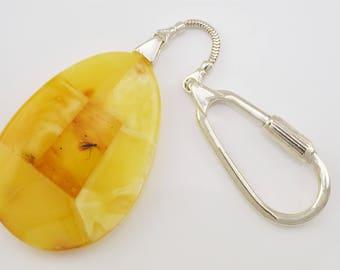 Amber Keychain, Mosaic Keychain, Baltic Amber Keychain, Sterling Silver Keychain, Keychain Gift, Amber Pendant, Personalized Gift