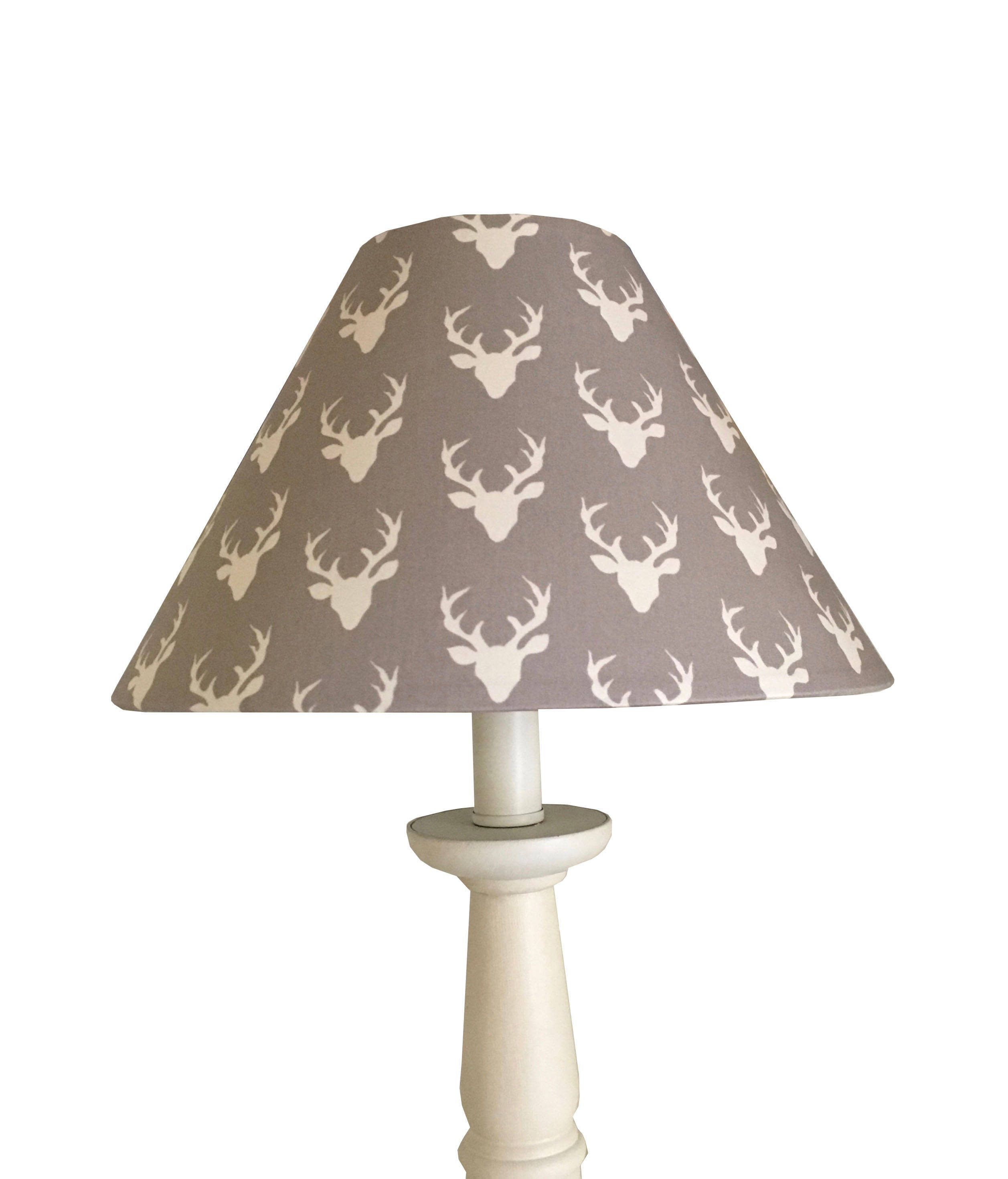 Grey woodland deer lampshade grey antler lamp nursery lampshade grey woodland deer lampshade grey antler lamp nursery lampshade hello bear mini buck forest mist baby boy baby girl room table lamp geotapseo Choice Image