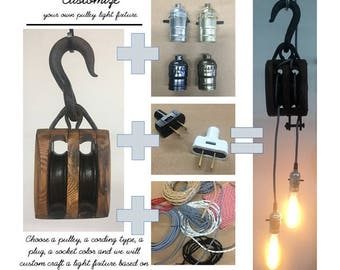 CUSTOMIZABLE Vintage 2 Bulb Pulley Light Fixture - choose your own pulley, socket, plug and cord type!