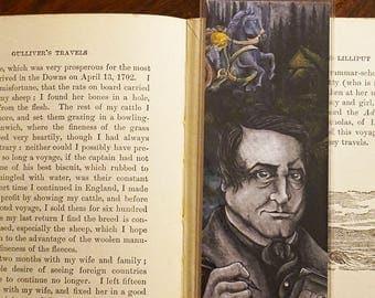 Halloween Bookmark, Washington Irving, Sleepy Hollow, Headless Horseman, Book Lover Gift, Book Art Print, Gift for book worm, Inktober