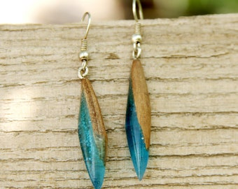gift|for|Girlfriend rustic jewelry dangle earring drop earring Wood resin Jewelry Wood earring boho Jewelry Wooden jewelry Wooden earring