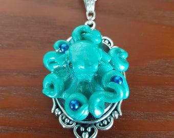 Handsculpted Octopus Pendant/OOAK/Pearl/NauticalNecklace/Beachwear/UniqueGift/SeaCreature/Cameo/[OP001]