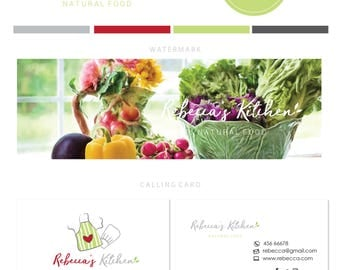 Branding kit logo design - Food logo branding - natural food blog branding - Organic food logo - Recipes blog food branding