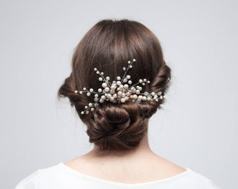 Wedding Crystal Hair Comb, Silver Bridal Hair Comb, Rhinestone Comb, Wedding Floral Hair Piece, Bridesmaid Hair Pin,