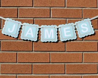 Baby Boy Nursery Decor, Personalized Name Banner, Personalized Gift, Personalized Baby Gift, Kids Room Decor, Custom Name Banner, Name