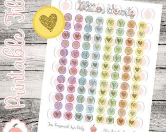 Bright Glitter Heart Icons // Printable Planner Stickers // Glitter Planner Stickers // Glitter Icons