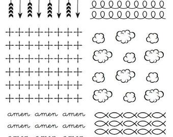 """Bible Backgrounds -  Clear Stamp for Bible Journaling, Faith Cards or Mixed Media. 6 different 2"""" x 2"""" backgrounds."""