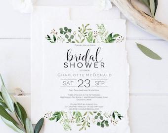 Printable Greenery Bridal Shower Invitation template, Eucalyptus Theme Editable Invitation Instant Download PDF