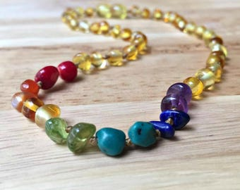 Rainbow Baby Amber Teething Necklace, Baltic Amber, Custom Amber, infant loss, miscarriage gift, rainbow after the storm, rainbow photo prop