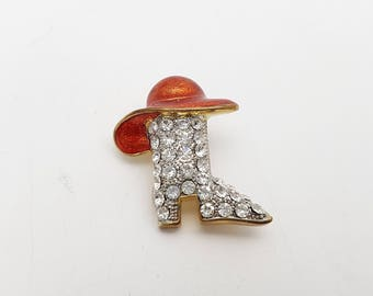Vintage Cowboy Boots Brooch Red Enamel and Rhinestones on Gold Tone Metal Retro Rodeo Cowgirl Far West Costume Western Country Festival
