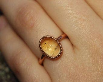 Citrine Copper Ring // Electroformed Crystal Jewelry