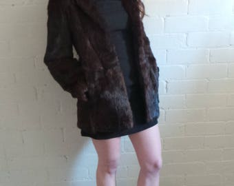 Dark Brown Rabbit Fur Coat