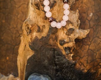 Love: Rose Quartz/Garnet Natural Gemstone 8mm Bracelet