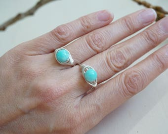 Handmade silver plated copper ring with amazonite, gemstone ring, silver ring, copper ring, turquoise ring