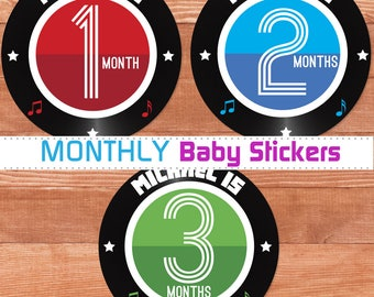 Baby Month Stickers, Personalized New Baby Gift, Rock and Roll Baby Gift, Custom Monthly Baby Stickers, Month Sticker Photo Props