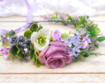 Lavender lilac crown Flower headband Wedding crown Flower halo Bridal flower crown Bridal floral crown Floral crown Wedding flower crown
