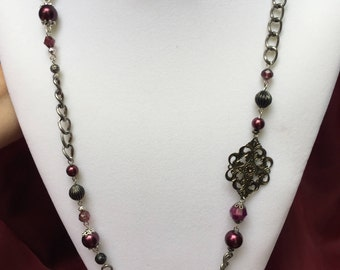 Vintage Fuchsia Necklace and Earring Set