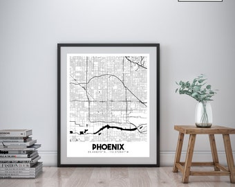 Phoenix Arizona printable downtown street map, Phoenix city map art, AZ map art, Arizona art, Phoenix wall decor, Printable map