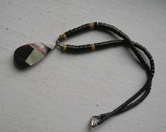 Handmade MOP Pendant with Heishi Beads - Boho Hippie